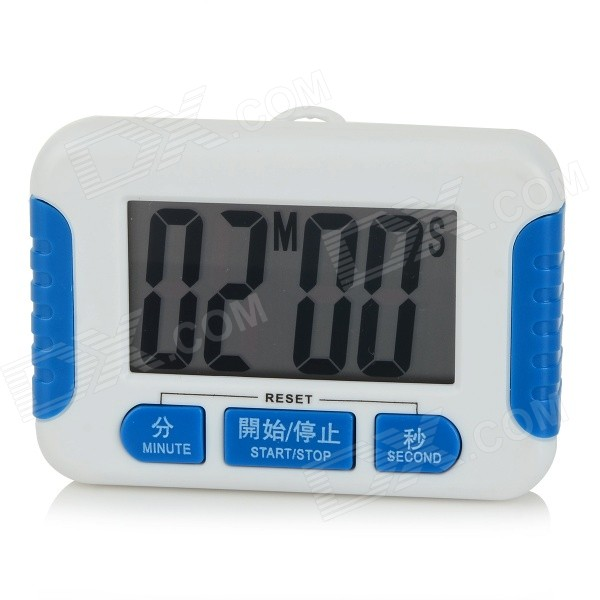 2.2 Screen Electronic Kitchen Timer Clock - White + Blue (1 x AAA)