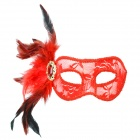 Stylish Sexy Crystal + Feather Decorated Lace Mask for Women - Red