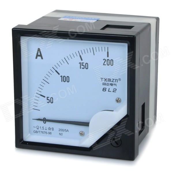 6L2 AC 0~200A Square Plastic Analog Panel Ampere Meter Ammeter - Black + White 6l2 v panel ac voltmeter black white 0 450v
