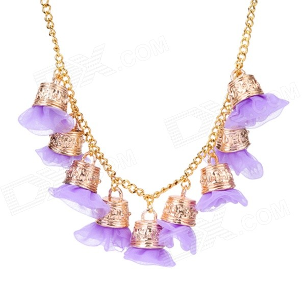 eQute PPEW35C6 Cute Exaggerated Flowers Zinc Alloy Necklace for Women - Purple + Golden irregular round shape zinc alloy chain pendant necklace golden
