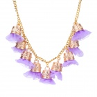 eQute PPEW35C6 Cute Exaggerated Flowers Zinc Alloy Necklace for Women - Purple + Golden