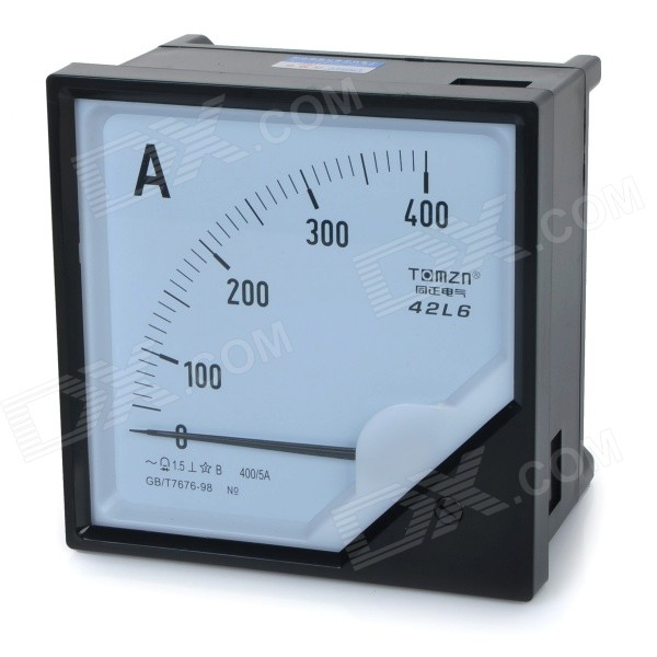 42L6 AC 0~400A Square Plastic Analog Panel Ampere Meter Ammeter - Black + White