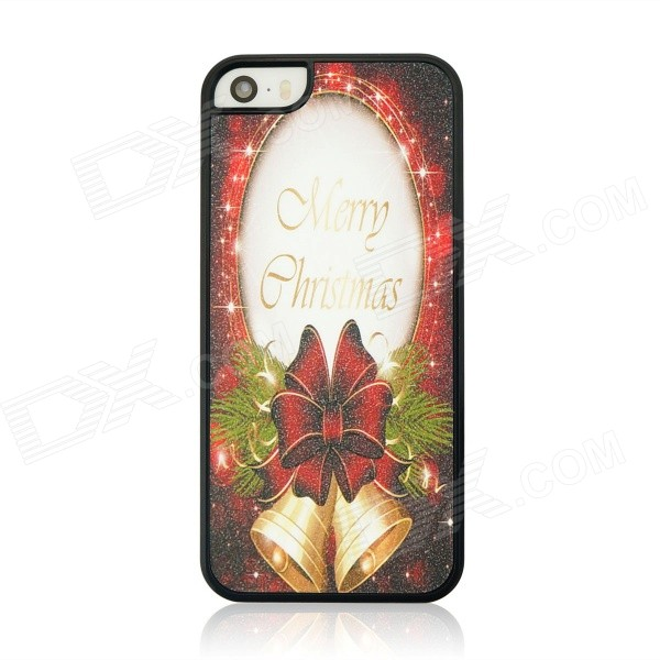 Christmas Bell Pattern Protective PC Back Case for IPHONE 5 / 5S - Dark Red + Golden cka1012 christmas bell snowflake bow pattern bedroom decorative sticker red golden white