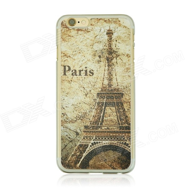 Vintage Eiffel Tower Pattern PC Back Case for IPHONE 6 4.7 - Yellow + Multicolor 3d eiffel tower pattern protective abs pc back case for iphone 5c black multicolor