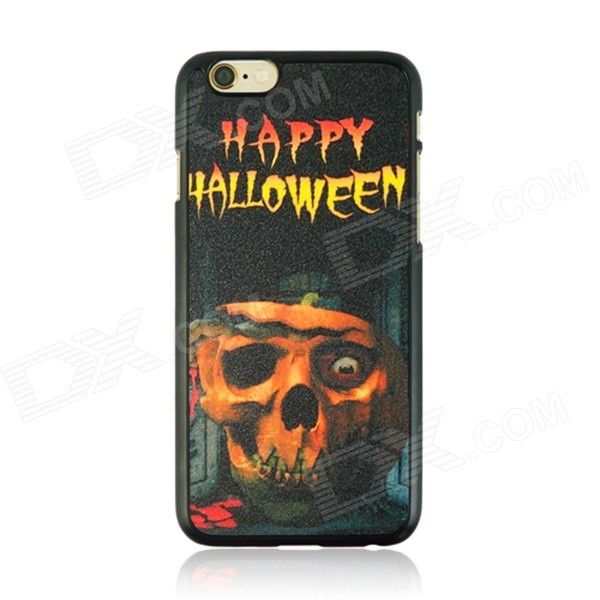 Halloween Skull Pattern Protective PC Back Case for IPHONE 6 4.7 - Black + Orange + Multi-Color halloween devil moon pattern protective pc back case for iphone 6 4 7 black multicolored