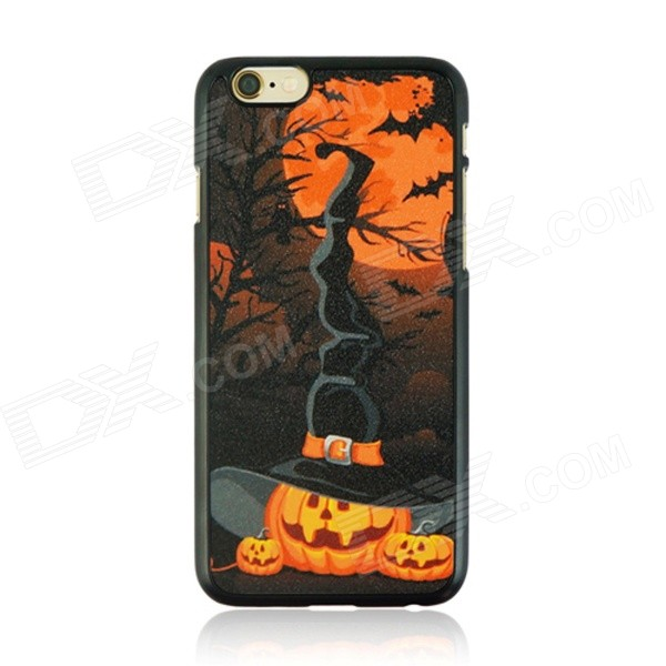 Halloween Pumpkin + Moon Pattern Protective PC Back Case for IPHONE 6 4.7 - Black + Orange halloween devil moon pattern protective pc back case for iphone 6 4 7 black multicolored