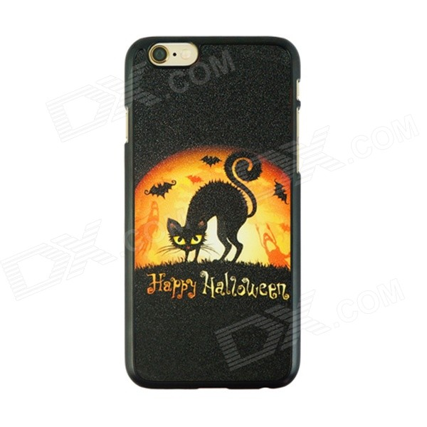 Halloween Fox Pattern Protective PC Back Case for IPHONE 6 4.7 - Black + Orange halloween devil moon pattern protective pc back case for iphone 6 4 7 black multicolored