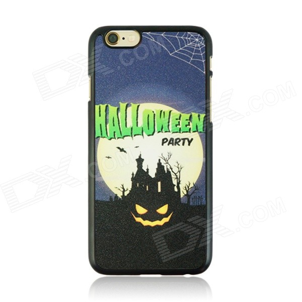 Halloween Devil + Moon Pattern Protective PC Back Case for IPHONE 6 4.7 - Black + Multicolored halloween devil moon pattern protective pc back case for iphone 6 4 7 black multicolored