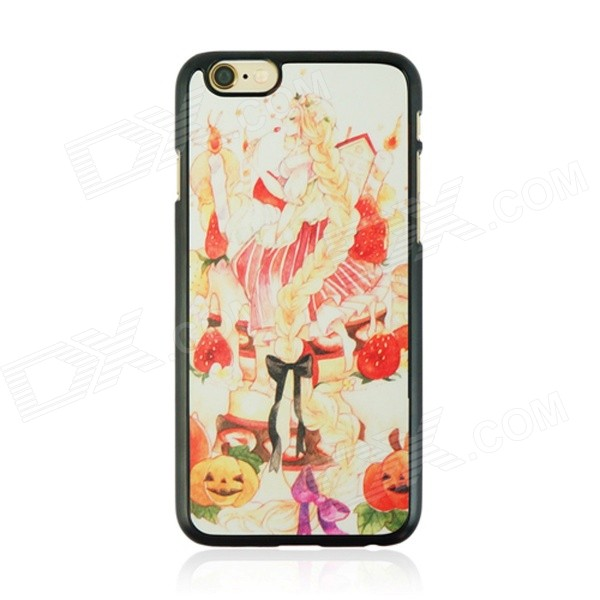 Halloween Pumpkin + Girl Pattern Protective PC Back Case for IPHONE 6 4.7 - Multicolored halloween devil moon pattern protective pc back case for iphone 6 4 7 black multicolored