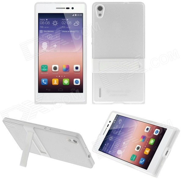 Hat-Prince Protective TPU Back Case w/ Stand for Huawei Ascend P7 - White