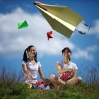 HM830 Easy R/C Folding A4 Paper Airplane w/ Remote Control - Yellow