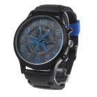 Super Speed V6 V0198 Fashion Men's Silicone Band Analog Quartz Watch - Black + Blue (1 x LR626)