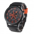 Super Speed V6 V0198 Men's Fashion Silicone Band Analog Quartz Watch - Black + Tangerine (1 x LR626)