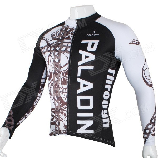 Paladinsport Men's Skull Patterned Long Sleeves Polyester Cycling Top Jersey - White + Black (XL)