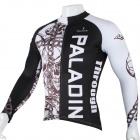 Paladinsport Herren Schädel Gemusterte Long Sleeves Polyester Radfahren Top Jersey - White + Black (XL)