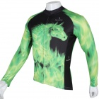 Paladinsport Herren Pferde Patterned Long Sleeves Polyester Radfahren Top Jersey - Grün + Schwarz (XL)