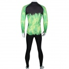Paladinsport Men's Horse Patterned Long Sleeves Polyester Cycling Top Jersey - Green + Black (XL)