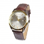 BN001 Men's Fashion Business Style PU Leather Band Analog Quartz Wrist Watch - Brown (1 x 377)
