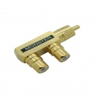 1-to-2 RCA Male to RCA Female Connector - Golden