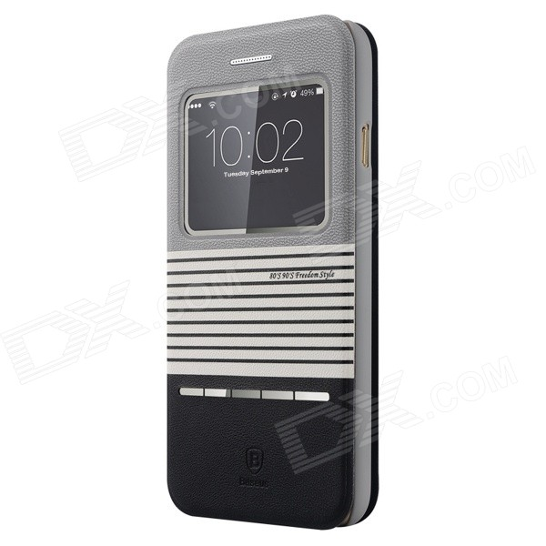 Baseus LTAPIPH6-ED1G Protective PU + PC Case w/ Stand for IPHONE 6 4.7 - Black + Grey
