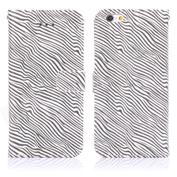 ENKAY Zebra Skin Pattern PU + Plastic Case w/ Stand / Card Slots for IPHONE 6 4.7 - White + Black