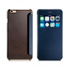 """Protective PU Flip-Open Case w/ Stand / Window Display for IPHONE 6 PLUS 5.5"""" - Black"""