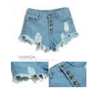 Women's Stylish Retro High-waisted Denim Jeans Shorts - Light Blue (M)