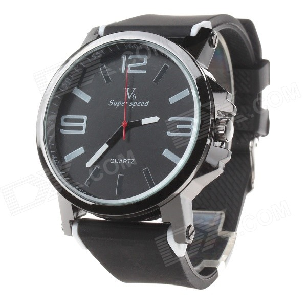 Super Speed V6 V0195 Men's Fashion Silicone Band Analog Quartz Watch - Black + White (1 x LR626)