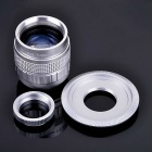 50mm F1.4 CCTV Lens + Macro Ring + C-NEX Adapter Ring Set for Sony NEX-5C, NEX-7 + More - Silver