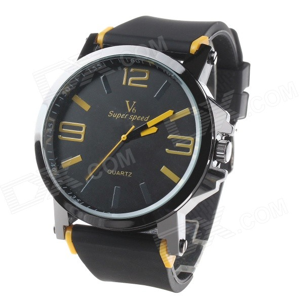 Super Speed V6 V0195 Men's Fashion Silicone Band Analog Quartz Watch - Black + Yellow (1 x LR626)