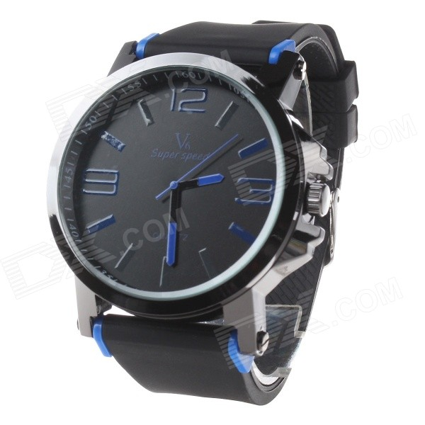 Super Speed V6 V0195 Men's Fashion Silicone Band Analog Quartz Watch - Black + Blue (1 x LR626)