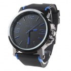 Super Speed ​​V6 V0195 Herrenmode Silikon-Band-Analog-Quarz-Uhr - Schwarz + Blau (1 x LR626)