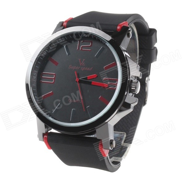 Super Speed V6 V0195 Men's Fashion Silicone Band Analog Quartz Watch - Black + Red (1 x LR626)