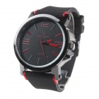 Super Speed ​​V6 V0195 Herrenmode Silikon-Band-Analog-Quarz-Uhr - Schwarz + Rot (1 x LR626)
