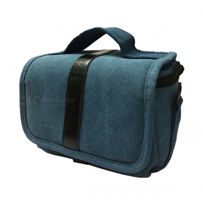 T-01-SBL Delicate One-shoulder Canvas DSLR Bag - Blue + Black (21 x 15 x 16cm)