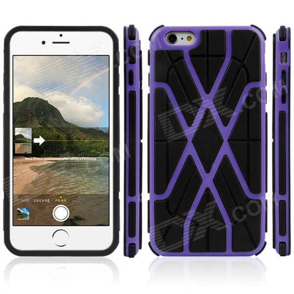 A058 Tyre Tread Pattern Detachable Double TPU Back Case for IPHONE 6 PLUS - Purple + Black