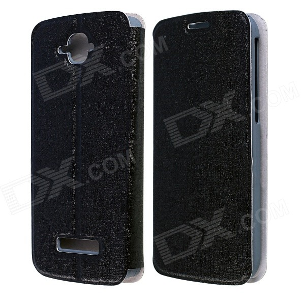 CM01 Protective PU Leather Flip-Open Case w/ Stand for Alcatel One Touch Pop C7 - Black mooncase alcatel one touch pop c7 leather flip card holder pouch stand back чехол для alcatel one touch pop c7 blue
