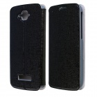 CM01 Protective PU Leather Flip-Open Case w/ Stand for Alcatel One Touch Pop C7 - Black
