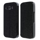 CM01 Protective PU Leather Flip-Open Case w/ Stand for Alcatel One Touch Pop C9 - Black