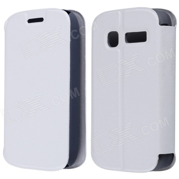 CM01 Protective PU Leather Flip-Open Case w/ Stand for Alcatel One Touch Pop C1 - White mooncase alcatel one touch pop c7 leather flip card holder pouch stand back чехол для alcatel one touch pop c7 blue
