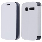 CM01 Protective PU Leather Flip-Open Case w/ Stand for Alcatel One Touch Pop C1 - White