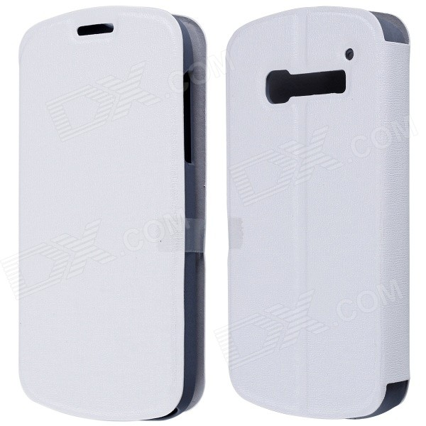 CM01 Protective PU Leather Flip-Open Case w/ Stand for Alcatel One Touch Pop C5 - White mooncase alcatel one touch pop c7 leather flip card holder pouch stand back чехол для alcatel one touch pop c7 blue