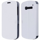 CM01 Protective PU Leather Flip-Open Case w/ Stand for Alcatel One Touch Pop C5 - White