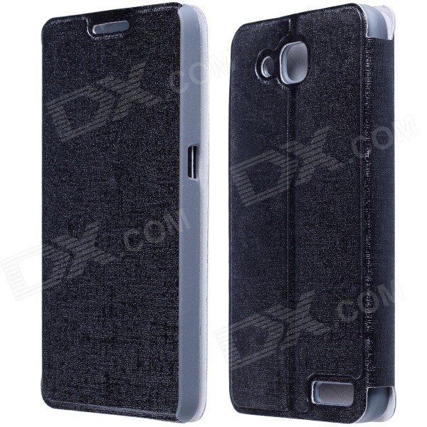 CM01 Protective PU Leather Flip-Open Case w/ Stand for Alcatel One Touch Idol 2S - Black смартфон alcatel one touch idol 4 6055k dark gray