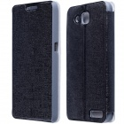 CM01 Protective PU Leather Flip-Open Case w/ Stand for Alcatel One Touch Idol 2S - Black