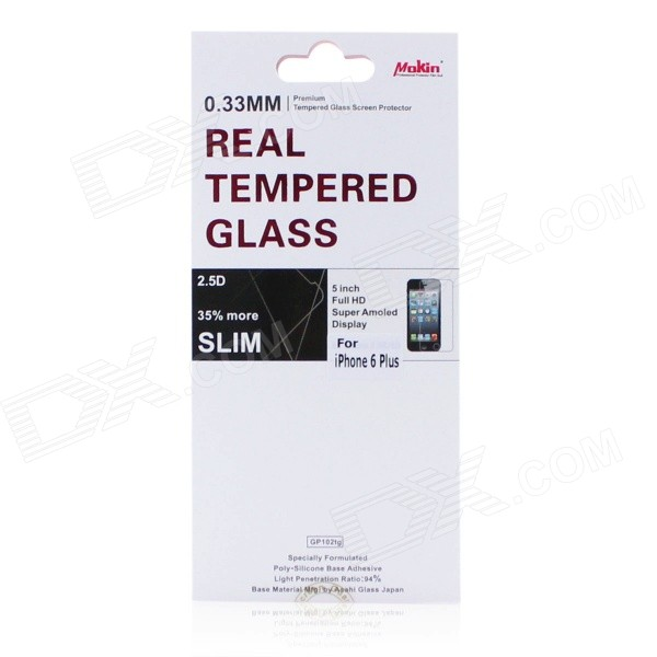 Mokin Clear Tempered Glass Screen Protector Guard Film for IPHONE 6 PLUS 5.5 - Transparent baseus 0 33mm tempered glass screen protector for iphone 6 plus transparent