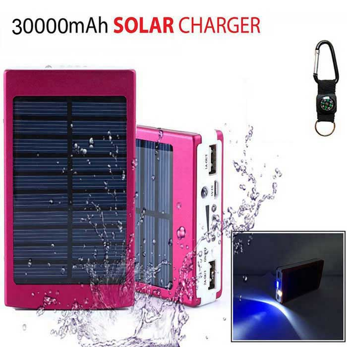 MEDIACON SP30000 Solar Powered Dual USB 30000mAh Li-polymer Battery Power Bank w/ LED / Flashlight portable dual usb 5v 10000mah li ion polymer battery solar power bank w led black grey