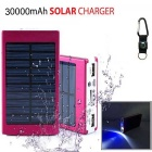"MEDIACON Solar Powered Dual USB ""30000mAh"" Li-polymer Battery Power Bank w/ LED / Flashlight"