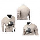 Men's Fashionable Printed Decorative Hat Pattern Casual Sweater - Light Coffee (L)