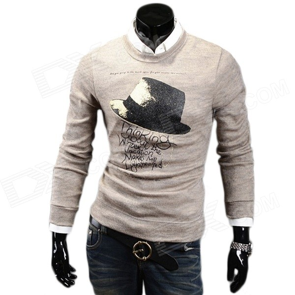 Men's Fashionable Printed Decorative Hat Pattern Round Neck Casual Sweater - Light Coffee (XL)